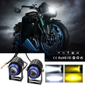 Par de faros lupa doble color para motocicleta